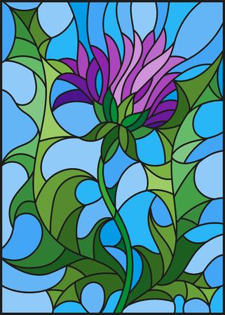 파란색 배경에 보라색 엉 겅 퀴의 스테인드 글라스 스타일 꽃에 그림 일러스트