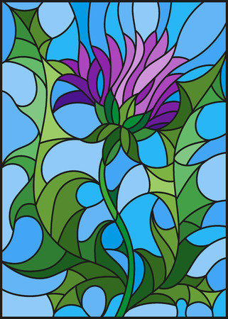 Illustration in stained glass style flower of a purple Thistle on a blue background Çizim