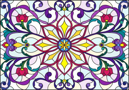 스테인드 글라스 스타일로 추상 소용돌이, 꽃 및 빛 배경, 가로 방향에 나뭇잎 그림 일러스트
