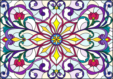 Illustration in stained glass style with abstract  swirls,flowers and leaves  on a light background,horizontal orientation