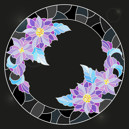 Illustration in stained glass style frame with floral, bright flowers and leaves on a dark background
