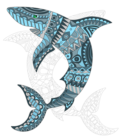 Illustration d'abeilles, requin, poisson et peint son contour sur fond blanc, isoler