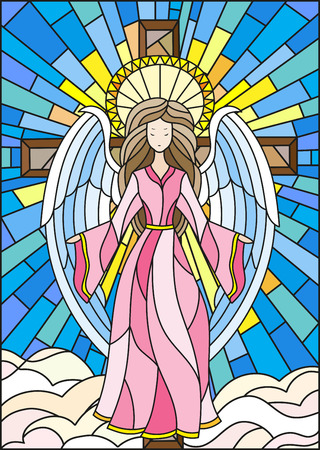 Illustration in stained glass style with an angel on the background of the cross ,sky and clouds Illustration