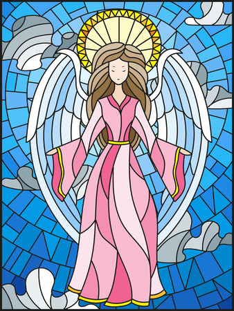 stained glass church: Angel illustration.