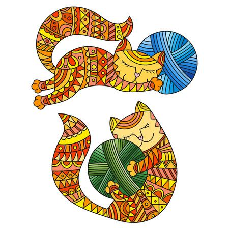 Two kittens illustration. Illustration