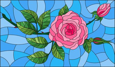 Illustratie in bloem van gebrandschilderd glas van roze roos op een blauwe achtergrond