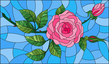 Illustration in stained glass style flower of pink rose on a blue background