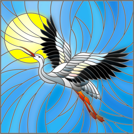 Illustration in stained glass style stork on the background of sky, and sun