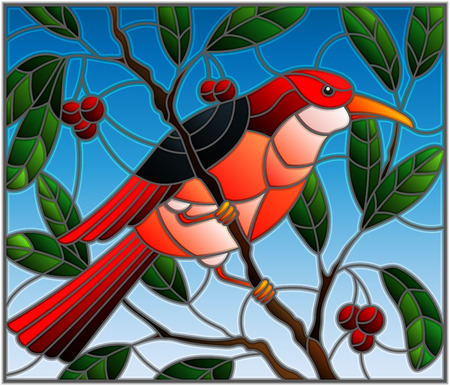 Illustration in the style of stained glass with a beautiful red bird on a background of branch of tree and sky
