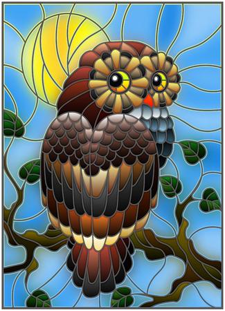 Illustratie in gebrandschilderd glasstijl met fabelachtige kleurrijke uilzitting op een boomtak tegen de hemel en de zon