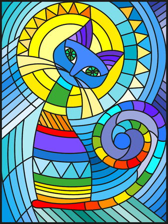 Illustration in stained glass style with abstract geometric cat 免版税图像 - 84870176