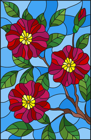 The illustration in stained glass style painting with a branch of flowering plants on a blue background, Burgundy flowers, buds and leaves against the sky Illustration