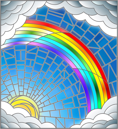 Illustration in stained glass style sun ,rainbow and clouds on blue sky background