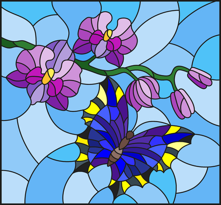 Illustration in stained glass style with a branch of purple Orchid and bright butterfly on a blue background