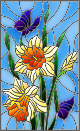 jonquil: Illustration in stained glass style with a bouquet of yellow daffodils and blue butterflies on a blue background