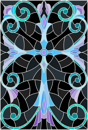 stained glass church: Illustration in stained glass style with a blue cross on a dark background with patterns and swirls Illustration