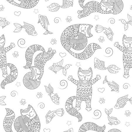 재미 있은 고양이 윤곽, 공 및 물고기, 밝은 배경에 어두운 개요 원활한 패턴