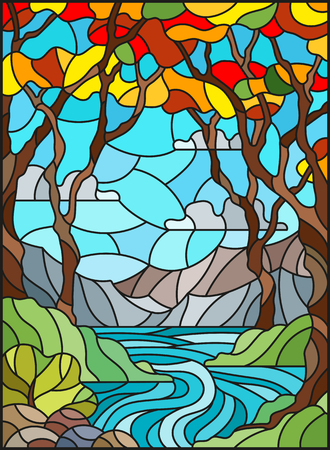 Illustration in stained glass style with a rocky Creek in the background of the Sunny sky, mountains, trees and fields,autumn landscape 向量圖像