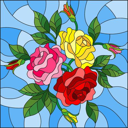 ステンド グラス花仕立てのイラストと青色の背景にバラの葉  イラスト・ベクター素材