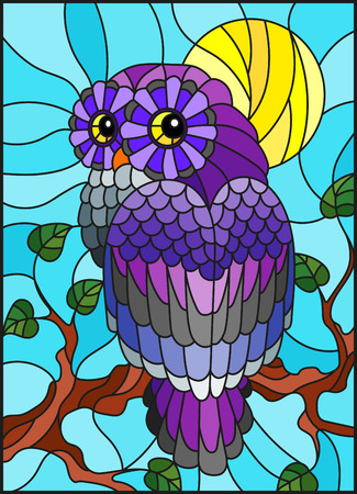 Illustration in stained glass style with fabulous colourful owl sitting on a tree branch against the  sky and sun