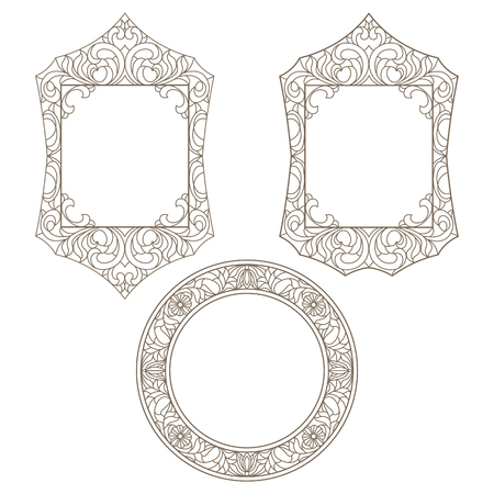 mirror frame: Set contour illustrations of stained glass with floral framework