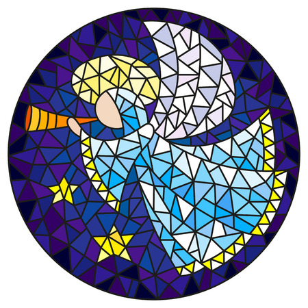 Illustration in stained glass style with an abstract angel in pink robe blowing pipe , round picture
