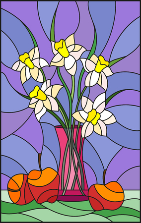 Illustration in stained glass style with bouquets of Narcissus flowers in a pink vase and apples on table on purple background