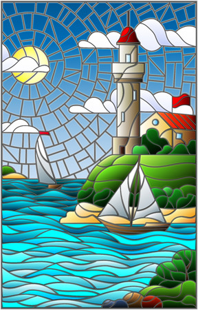 Illustration in stained glass style with sea view, three ships and a shore with a lighthouse in the background of day cloud sky sun and sea Illustration