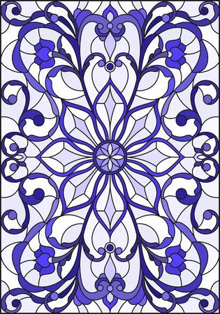 抽象的な渦巻きでステンド グラス スタイルのイラスト花し、垂直方向のガンマの青い光の背景に葉