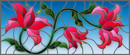 llustration in stained glass style with flowers, leaves and buds of pink lilies on a blue background Иллюстрация