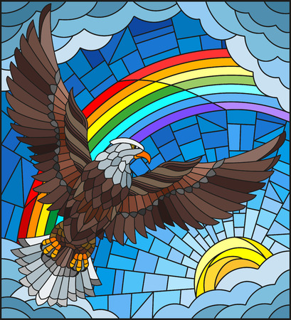 Illustration in stained glass style with a eagle on the background of sky, sun , clouds and rainbow
