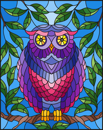 Illustratie in gebrandschilderd glasstijl met fabelachtige kleurrijke uilzitting op een boomtak tegen de hemel