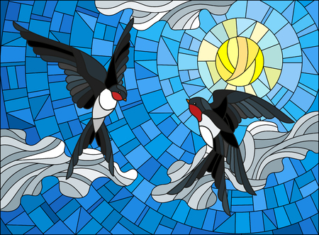 Illustration in stained glass style a pair of swallows on the background of sky, sun and clouds