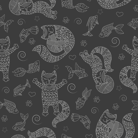 Seamless pattern with funny cats contour, balls and fishes, a light outline on a dark background Ilustração