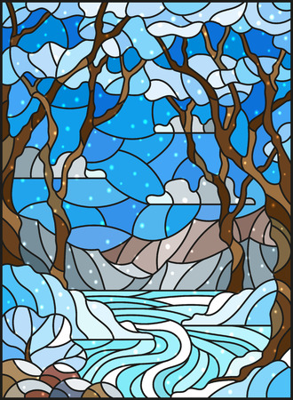 Illustration in stained glass style with a frozen Creek in the background of the  sky, snowy mountains,  trees and fields Ilustração