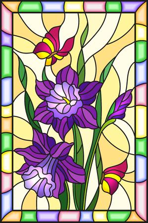 스테인드 글라스 스타일로 꽃, 잎 및 싹이 자주색 꽃과 나비 밝은 프레임과 노란색 배경에 그림 일러스트
