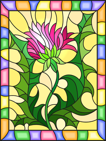 rectangle: Illustration in stained glass style flower of a pink Thistle on a yellow background in a bright frame