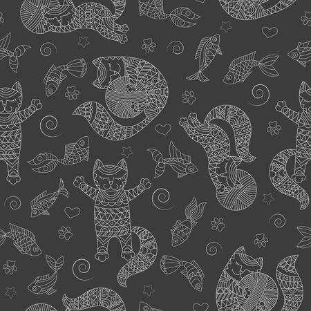 재미 있은 고양이 윤곽, 공 및 물고기, 어두운 배경에서 빛 개요 원활한 패턴 일러스트