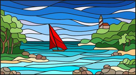 海の景色を望むステンドグラスのイラスト、海と太陽の背景にあるロッキー湾でのセーリング