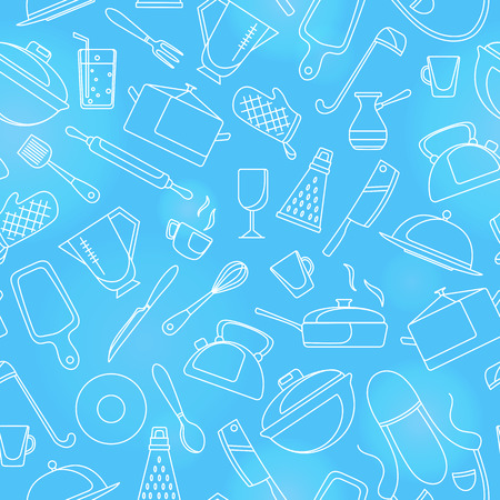Seamless pattern on the theme of cooking and kitchen utensils, simple contour icons, white contour on blue background