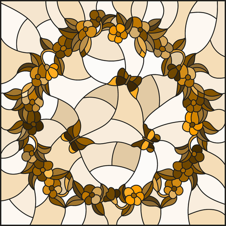 Illustration in stained glass style with flowers in a circle and butterflies,brown tone,Sepia