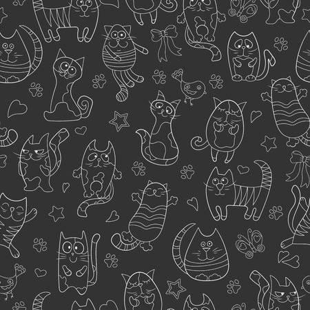 Seamless pattern with contour images cartoon cats , white contour on dark background Illustration
