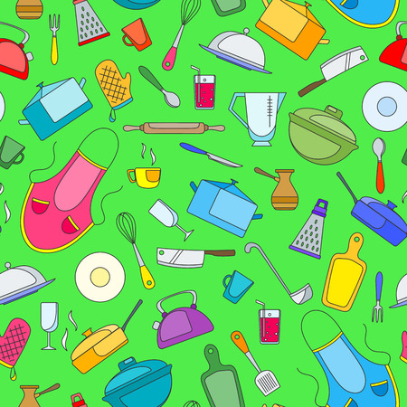 Seamless pattern on the theme of cooking and kitchen utensils, simple painted icons on green background Illustration
