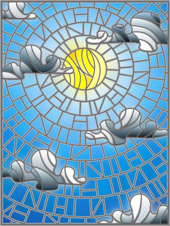 Illustratie in zon en wolken van de gebrandschilderd glasstijl op blauwe hemelachtergrond
