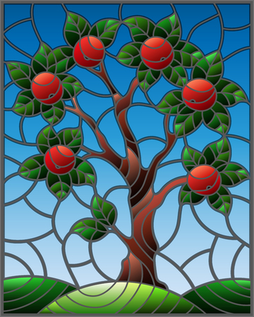 Illustration in stained glass style with an  apple tree standing alone on a hill against the sky