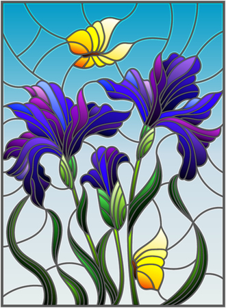 Illustration in stained glass style with a bouquet of purple irises and yellow butterflies on a blue background Illustration
