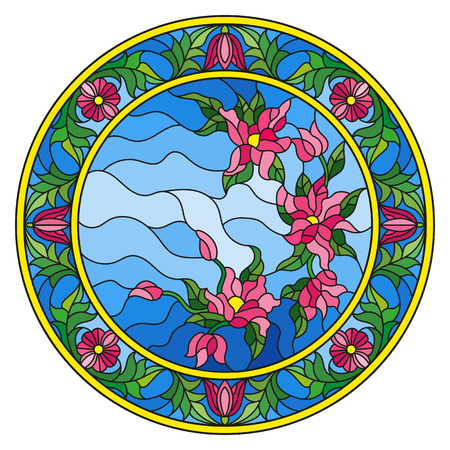 Illustration in stained glass style flowers on a background sky in a bright floral frame , round picture