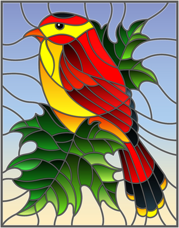 Illustration in the style of stained glass with a beautiful red bird  on a  background of branch of maple tree and sky Illustration