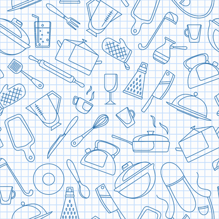 Seamless pattern on the theme of cooking and kitchen utensils, simple contour icons,  blue  contour  icons on the clean writing-book sheet in a cage