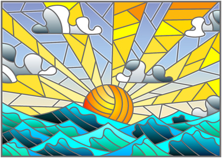 Illustration in stained glass style with sea landscape, sea, cloud, sky and sun Vettoriali